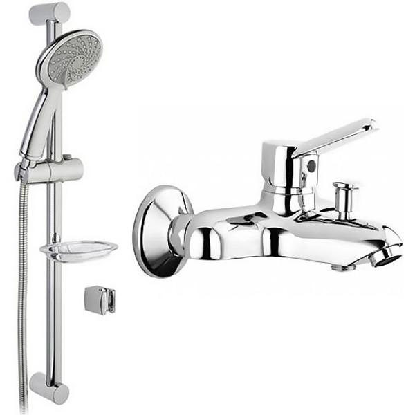 цена на Душевой гарнитур Vitra Samba 3F A45680WSA со смесителем для ванны Vitra Punto A41021 Хром