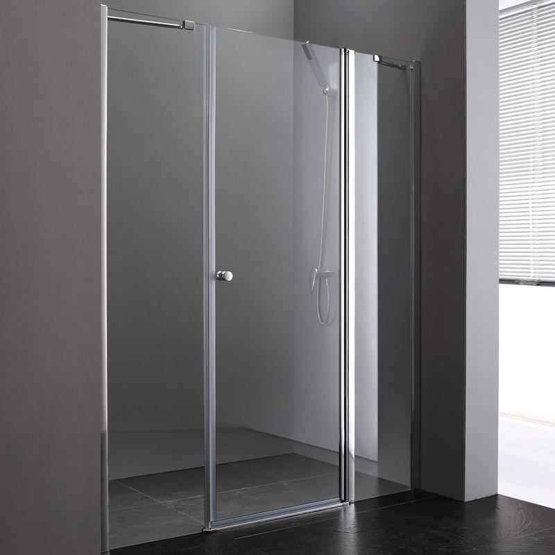 Душевая дверь в нишу Cezares Elena B-13 60+60/60 профиль Хром стекло прозрачное растение даваллия d17см