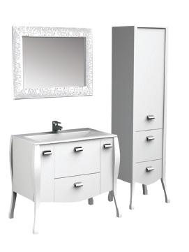 Мадонна 90 белый (сваровски)Мебель для ванной<br>Тумба под раковину Акванет Мадонна 90, артикул 168903. В комплект поставки входит тумба. Цвет: белый (сваровски).<br>