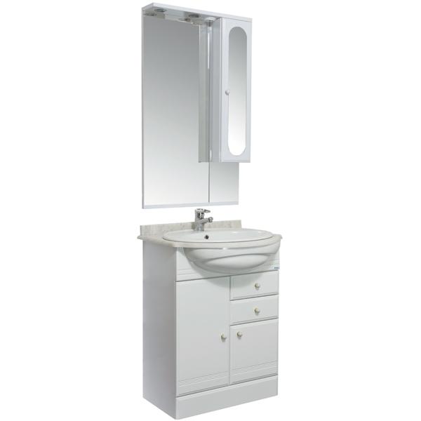 Марсель 60 белыйМебель для ванной<br>Тумба под раковину Акванет Марсель 60, артикул 100295. В стоимость входит тумба. Цвет: белый. Раковина, зеркало, столешница и пенал приобретаются отдельно.<br>