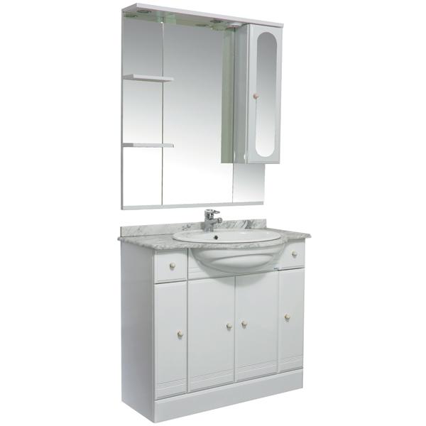Марсель 90 белыйМебель для ванной<br>Тумба под раковину Акванет Марсель 90, артикул 100302. В комплект поставки входит тумба. Цвет: белый.<br>