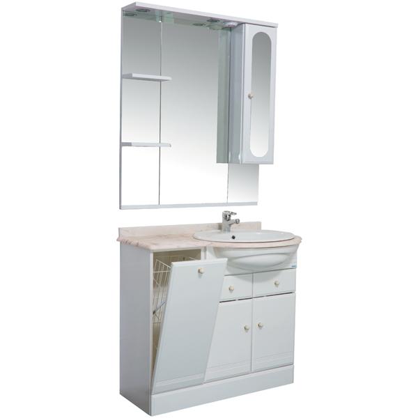 Марсель 90 с б/к белый праваяМебель для ванной<br>Мебель для ванной Акванет Марсель 90 с б/к, артикул 100305. В стоимость входит тумба. Цвет: белый. Раковина, зеркало, столешница и пенал приобретаются отдельно.<br>