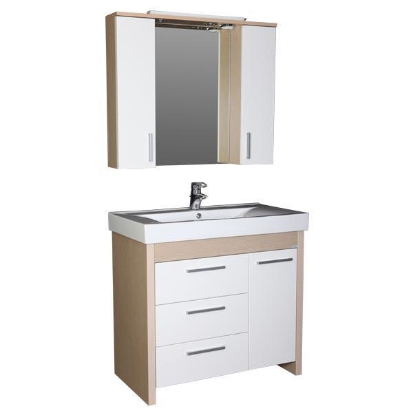 Тиана 90 светлый дуб (фасад белый)Мебель для ванной<br>Мебель для ванной Акванет Тиана 90, артикул 172809. В стоимость входит тумба с бельевой корзиной. Цвет: светлый дуб (фасад белый). Раковина, зеркало и пенал приобретаются отдельно.<br>