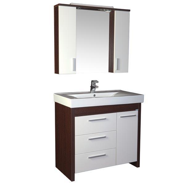 Тиана 100 венге (фасад белый)Мебель для ванной<br>Тумба под раковину Акванет Тиана 100, артикул 172680. В комплект поставки входит тумба с бельевой корзиной. Цвет: венге (фасад белый).<br>