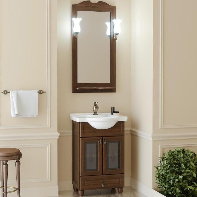 Комплект мебели для ванной Opadiris Тибет 50 со стеклом Беленый бук со светильником Рустика Бронза