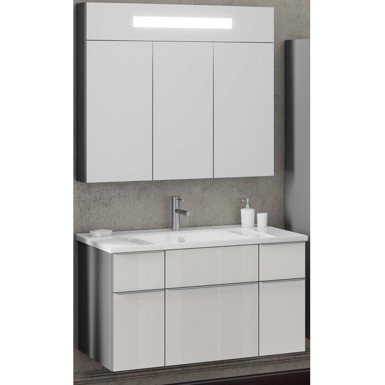 Комплект мебели для ванной Opadiris Кристалл 90 подвесной Белый Титан фото