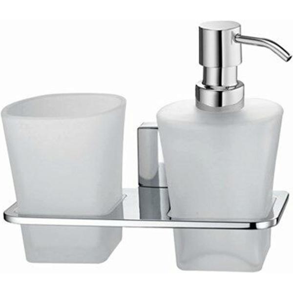 Стакан для зубных щеток с дозатором жидкого мыла WasserKRAFT Leine K-5089 Хром стакан для зубных щеток wasserkraft k 5028white