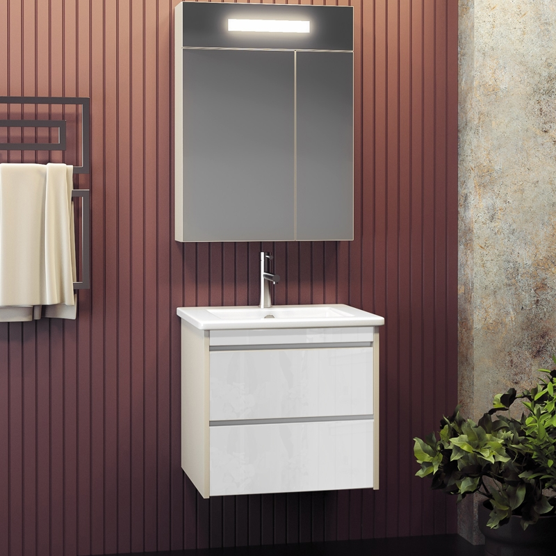 Комплект мебели для ванной Smile Фреш 60 подвесной Белый глянцевый