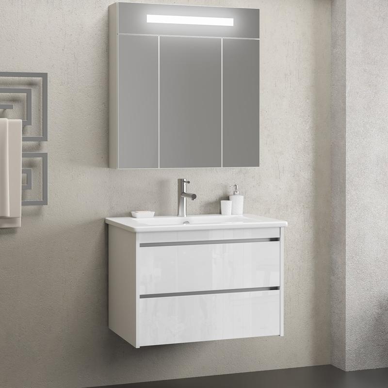 Комплект мебели для ванной Smile Фреш 80 подвесной Белый глянцевый