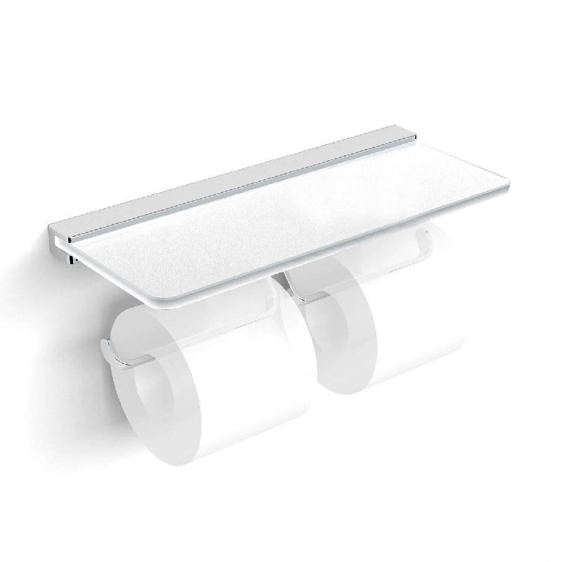 Держатель туалетной бумаги Langberger 32042B двойной с полкой Матовый хром держатель туалетной бумаги rush edge двойной с полкой для телефона хром ed77142a