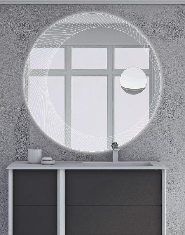 Зеркало Cezares 100 с увеличительным зеркалом и со встроенной LED подсветкой с подсветкой