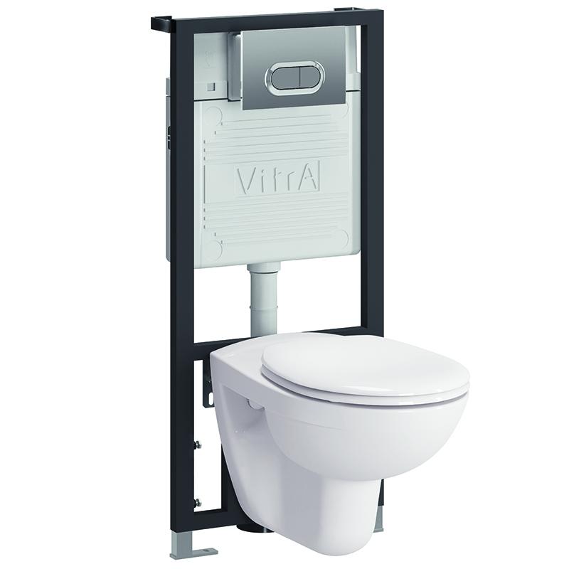 Комплект унитаза с инсталляцией Vitra Normus 9773B003-7202 с сиденьем и кнопкой смыва Хром кнопка смыва vitra loop r хром 740 0680