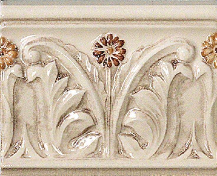 Керамический бордюр Vallelunga Rialto Beige+Painted G91128 Painted Listello Floreale Flor 12х15 см