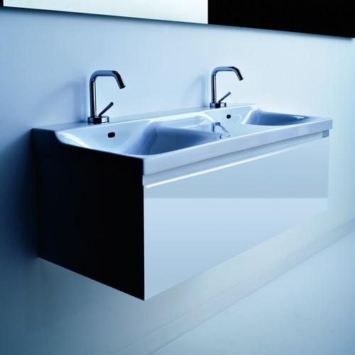 Buddy 9109 1000 ммМебель для ванной<br>Тумба под раковину подвесная Kerasan  Buddy 9109 с двойной чашей. Цвет белый глянцевый.<br>