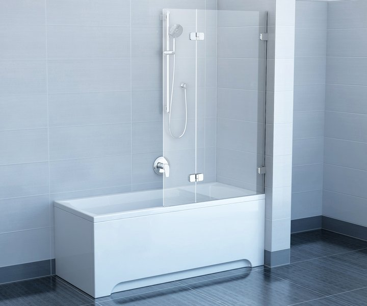 Brilliant BVS2-100  R хром+транспарентДушевые ограждения<br>Шторка на ванну Ravak Brilliant BVS2 100 двухсекционная, поворотная. Состоит из одной неподвижной части и одной подвижной части, поворачивающейся наружу. Витраж из безопасного стекла толщиной 6/8 мм.<br>