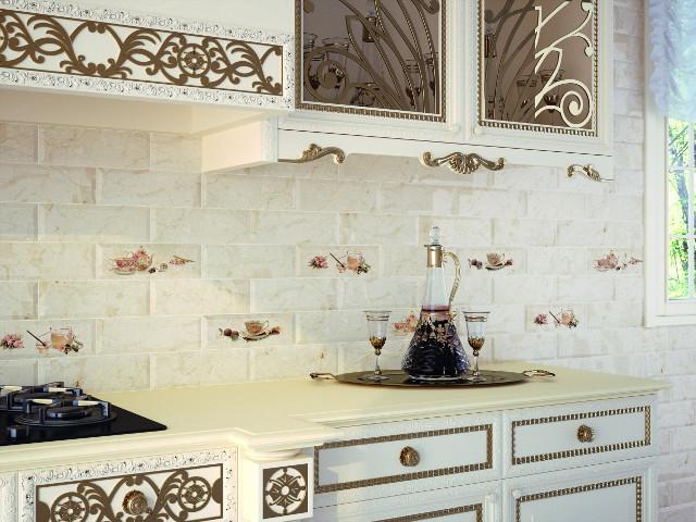 Керамическая плитка Monopole Ceramica Bonjour Decor Tea Marfil 10x30 декор цена
