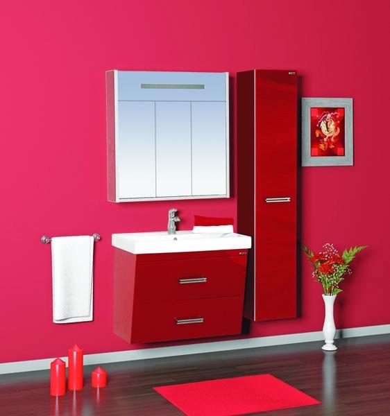 Джулия Qvatro - 75 подвесная с 2 ящиками конус КраснаяМебель для ванной<br>Тумба в комплекте с раковиной Джулия Qvatro - 75 подвесная с 2 ящиками конус. Цвет красный.<br>