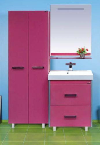 Джулия Qvatro - 60 с 2 ящиками РозоваяМебель для ванной<br>Тумба в комплекте с раковиной Misty Джулия Qvatro - 60 с 2 ящиками. Цвет розовый.<br>