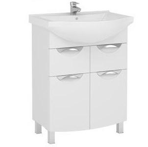 Асти 177769 БелаяМебель для ванной<br>Тумба Aquanet  Асти 55 177769. Распашные двери с ящиками.  Цвет белый.<br>