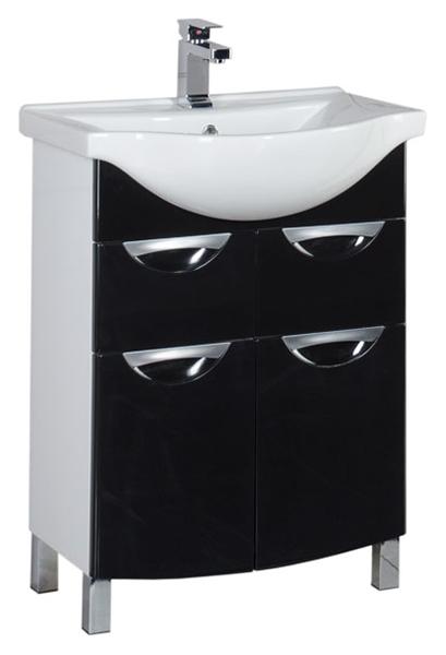 Асти 65 178255 Белая (фасад черный)Мебель для ванной<br>Тумба под раковину Aquanet Асти 65 178255, 2 распашные дверцы, 2 выдвижных ящика. Напольная тумба на ножках очень удобна для размещения в комнате без капитальных стен, где сложно применять подвесную мебель. Фасад с черным глянцем в сочетании с белыми боковинами добавляет моделям легкую строгость и дает возможность при проектировании ванной комнаты свободно применять чистые цвета. В комплект поставки входит тумба.<br>