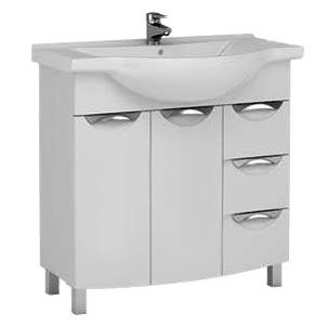 Асти 85 177786 БелаяМебель для ванной<br>Тумба под раковину Aquanet Асти 85 177786 пристенная напольная.  Цвет мебели белый.<br>