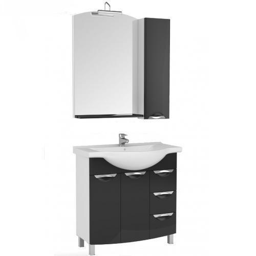 Асти 178243 Белая (фасад черный)Мебель для ванной<br>Тумба Aquanet Асти 85 178243. Цвет белый (фасад черный).<br>