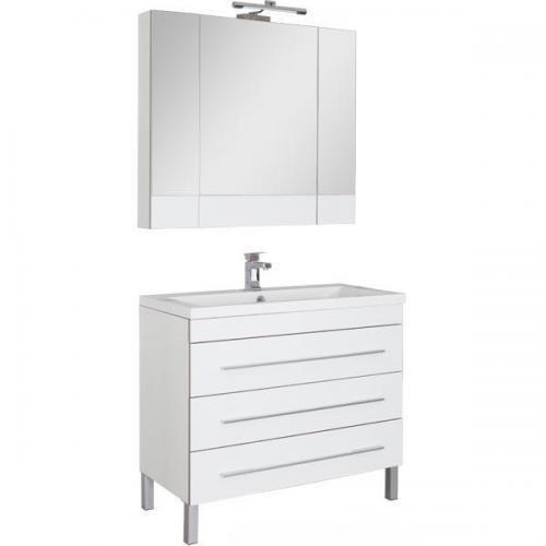 Верона 178471 БелаяМебель для ванной<br>Тумба Верона 178471 напольная с 3-мя ящиками.Раковина, зеркало  и светильник приобретаются отдельно.  Цвет белый.<br>