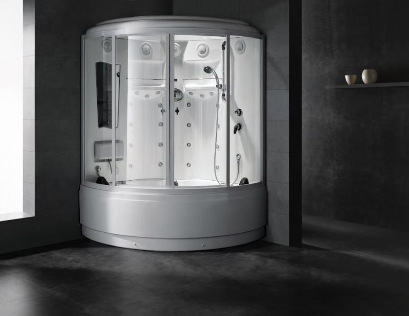 B110 С паромДушевые боксы<br>Душевая кабина SSWW B110.<br>В комплект моделей серии B1 входят: крыша, система подачи пара, система подачи и переключения горячей и холодной воды, верхний душ, ручной душ на телескопической стойке, гидромассажные форсунки спины, массажер ног.<br>