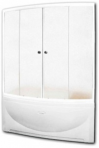 Альма АлюминийДушевые ограждения<br>Стеклянная шторка на ванну АЛЬМА. 2 раздвижные створки. Профиль алюминий.<br>
